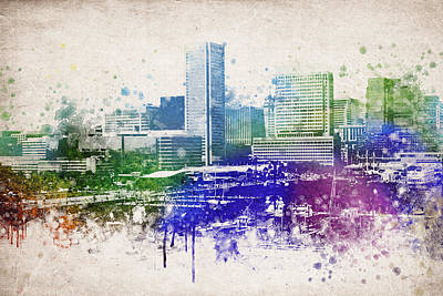 Stadium Mixed Media - Baltimore City Skyline by Aged Pixel