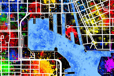 Oriole Digital Art - Baltimore Inner Harbor Map by Stephen Younts