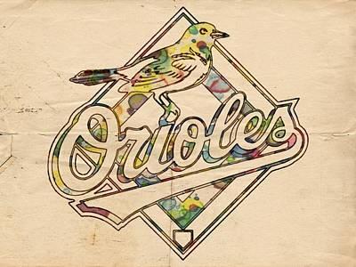 Oriole Digital Art - Baltimore Orioles Vintage Poster by Florian Rodarte