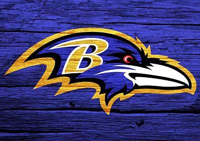 Raven Mixed Media - Baltimore Ravens Barn Door by Dan Sproul