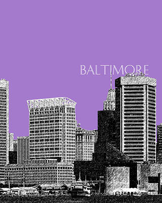 Pen Digital Art - Baltimore Skyline 1 - Violet by DB Artist