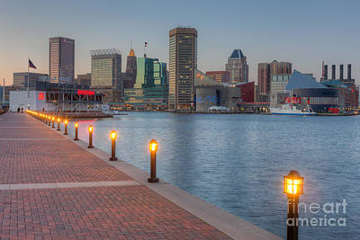 Baltimore Skyline At Twilight I Print by Clarence Holmes
