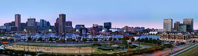Baltimore Skyline Panorama At Twilight Print by Susan Candelario