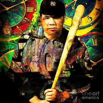 Baseball Players Portrait Digital Art - Bambino And Company Steampunk Homerun Machine 20141220 Square by Wingsdomain Art and Photography