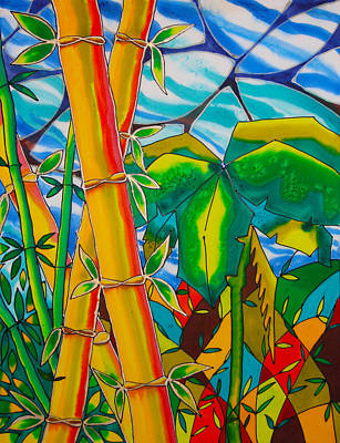 Bamboo And Banana Leaf Print by Lee Vanderwalker