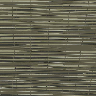 Bamboo Fence - Gray And Beige Print by Saya Studios