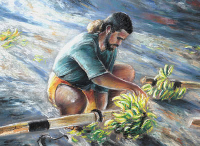 Young Man Drawing - Banana Carryer In Tahiti 02 by Miki De Goodaboom