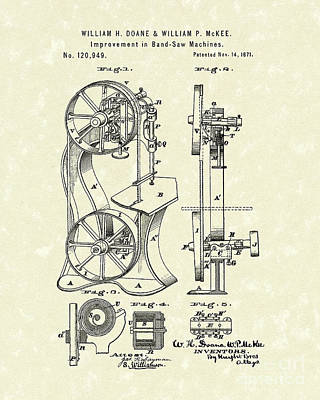 Woodworking Print featuring the drawing Band Saw 1871 Patent Art by Prior Art Design
