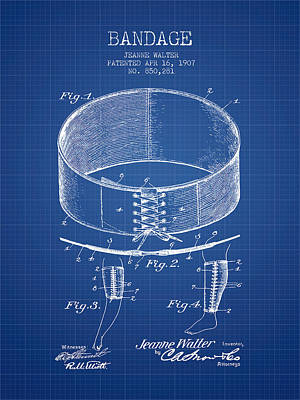 Bandage Patent From 1907 - Blueprint Print by Aged Pixel