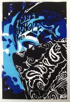 Graffiti Painting - Bandana Blue by Leon Keay