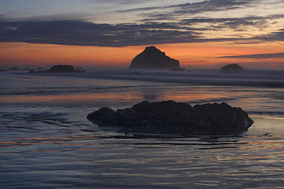 Bandon Beach Face Rock Sunset Print by Mark Kiver
