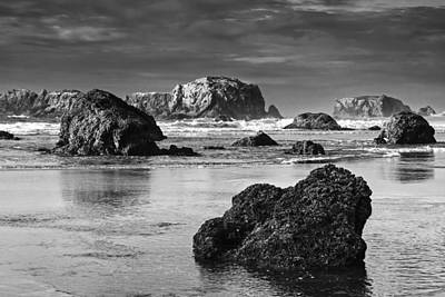 Bandon Sea Stacks Black And White Print by Mark Kiver