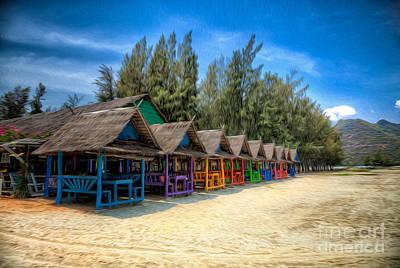 Bang Pu Beach Huts Print by Adrian Evans