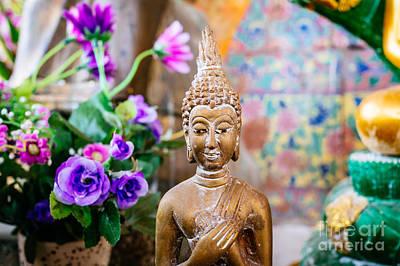 Contemplative Photograph - Bangkok Temple Buddha by Dean Harte