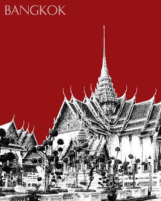 Bangkok Thailand Skyline Grand Palace - Dark Red Print by DB Artist