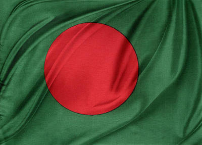 Textile Photograph - Bangladesh Flag by Les Cunliffe