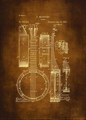 Banjo Patent Drawing - Antique Print by Maria Angelica Maira