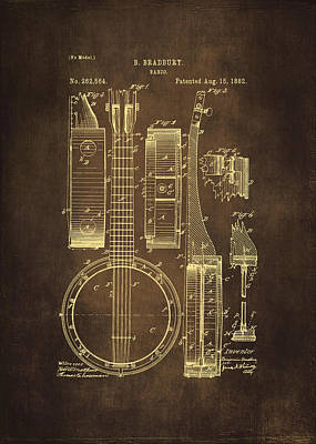 Banjo Patent Drawing - Brown Print by Maria Angelica Maira
