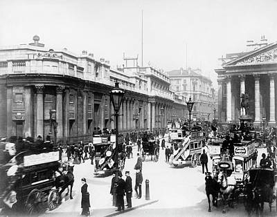Gas Lamp Photograph - Bank Junction Horse-drawn Traffic by Library Of Congress