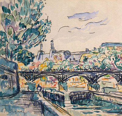 Pen And Ink Tree Drawing - Bank Of The Seine Near The Pont Des Arts by Paul Signac