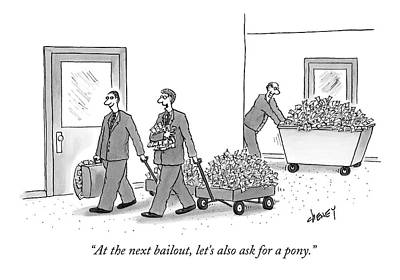 Bankers Talking As They Pull Along Cartloads Print by Tom Cheney