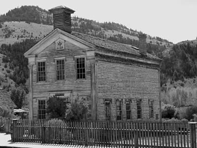 Bannack Ghost Town Photograph - Bannack Masonic Hall Black And White by Kae Cheatham