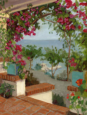 Porch Painting - Banning House Bougainvillea by Alice Leggett