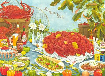 New Orleans Crawfish Painting - Banquet On The Bayou by Joyce Hensley