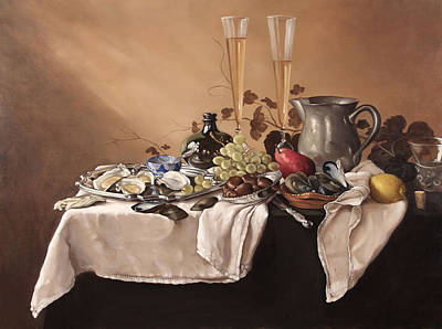 Banquet With Fruit And Wine Print by James Whitbeck