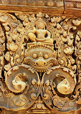 Banteay Srei Carving 01 Print by Rick Piper Photography