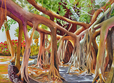 Tree Roots Painting - Banyan Home by Terry Arroyo Mulrooney