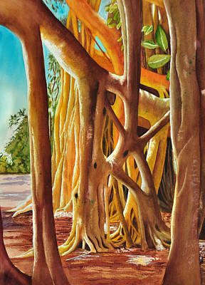 Tree Roots Painting - Banyan Light by Terry Arroyo Mulrooney