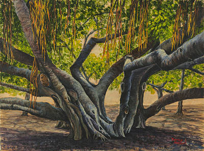 Famous Acrylic Landscape Painting - Banyan Tree Maui by Darice Machel McGuire