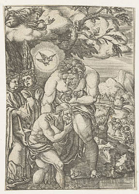 Baptism Of Christ In The Jordan, Monogrammist Ac 16e Eeuw Print by Litz Collection