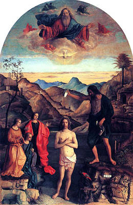 Heavenly Angels Painting - Baptism Of Christ With Saint John 1502 Giovanni Bellini by Karon Melillo DeVega