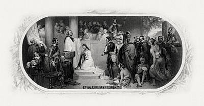 Baptism Of Pocahontas Print by Celestial Images