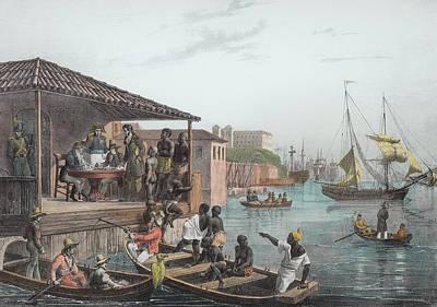Slaves Drawing - Baptiste Sabatier Pub. By Engelmann by Johann Moritz Rugendas