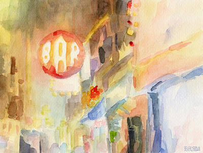 Night Scenes Painting - Bar 8th Avenue Watercolor Painting Of New York by Beverly Brown Prints