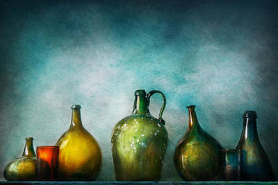Custom Glass Photograph - Bar - Bottles - Green Bottles  by Mike Savad