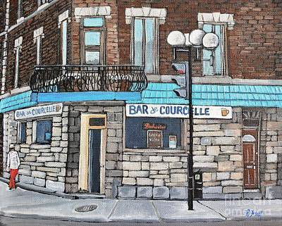 Quebec Streets Painting - Bar De Courcelle St-henri by Reb Frost