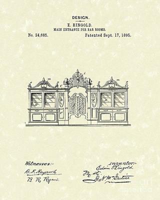 Entrance Drawing - Bar Entrance 1895 Patent Art by Prior Art Design