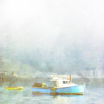 Sea Blue Digital Art - Bar Harbor Maine Foggy Morning by Carol Leigh