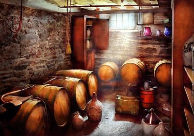 Bar - Wine - The Wine Cellar  Print by Mike Savad
