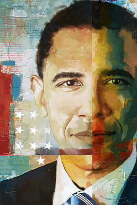 University School Painting - Barack Obama by Corporate Art Task Force