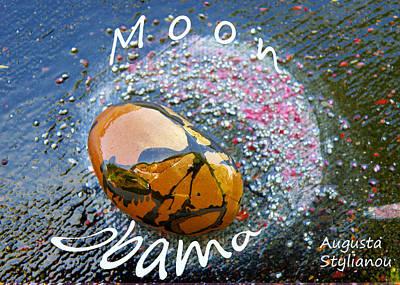 Obama Painting - Barack Obama Moon by Augusta Stylianou