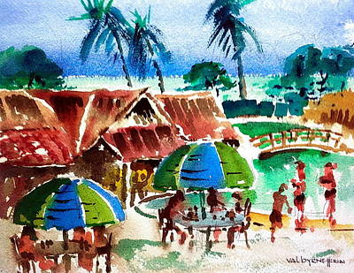 Barbados Party Print by Val Byrne