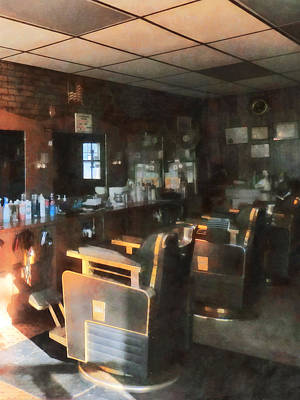 Barberchair Photograph - Barber - Barber Shop With Sun Streaming Through Window by Susan Savad