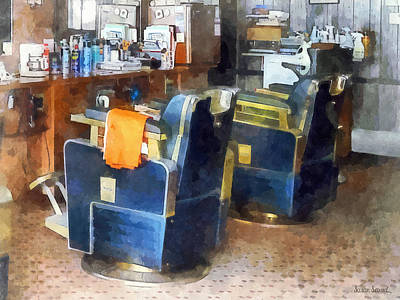 Barber Chair With Orange Barber Cape Print by Susan Savad