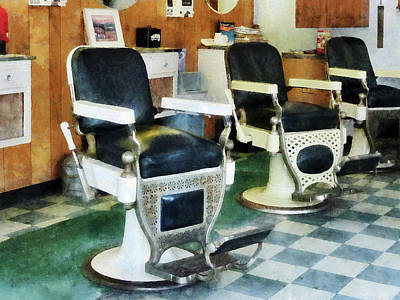 Barber - Corner Barber Shop Print by Susan Savad