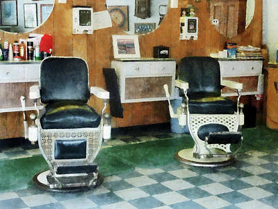 Barber - Corner Barber Shop Two Chairs Print by Susan Savad